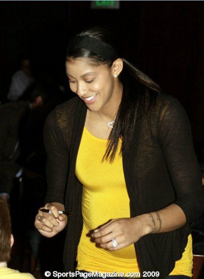 Prior to giving birth to her baby in May, WNBA player of the L.A Sparks, Candace Parker, is all smiles with her Sharpie.