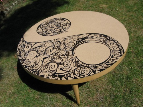 Alissa Johnson uses Sharpie on her coffee table.